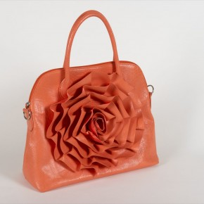 Satchel w/ Crimped Rose Motif