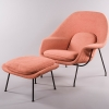 Designed by Eero Saarinen, manufactured by Knoll International, a division of Knoll, Inc., Womb Chair and Ottoman, c. 1961-74