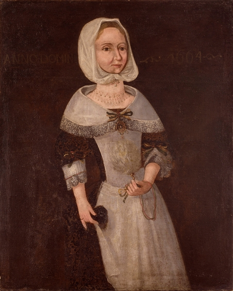 Unknown, <i>Elizabeth Eggington</i>, 1664, Oil on canvas, 36 1/4 x 29 3/4 inches, Gift of Mrs. Walter H. Clark. Endowed by her daughter, Mrs. Thomas L. Archibald, 1956.93