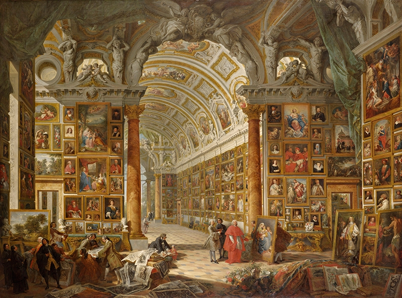 Giovanni Paolo Panini, <i>Interior of a Picture Gallery with the Collection of Cardinal Silvio Valenti Gonzaga</i>, 1749, Oil on canvas, 78 x 105 1/2 inches, The Ella Gallup Sumner and Mary Catlin Sumner Collection Fund, 1948.478
