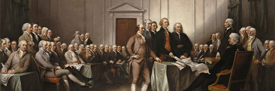 "John Trumbull, ""The Declaration of Independence, July 4, 1776,"" 1832, Oil on canvas, Wadsworth Atheneum Museum of Art, Puchased by Daniel Wadsworth and members of the Atheneum Committee, 1844.3"