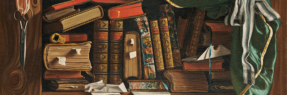 Brabant (François Foisse), Still Life with Books (detail), c. 1741, Oil on canvas, The Ella Gallup Sumner and Mary Catlin Sumner Collection Fund, with additional contributions in memory of Frank B. Gay, former Director of the Wadsworth Atheneum (1911-27), 1939.244, Wadsworth Atheneum Museum of Art, Hartford