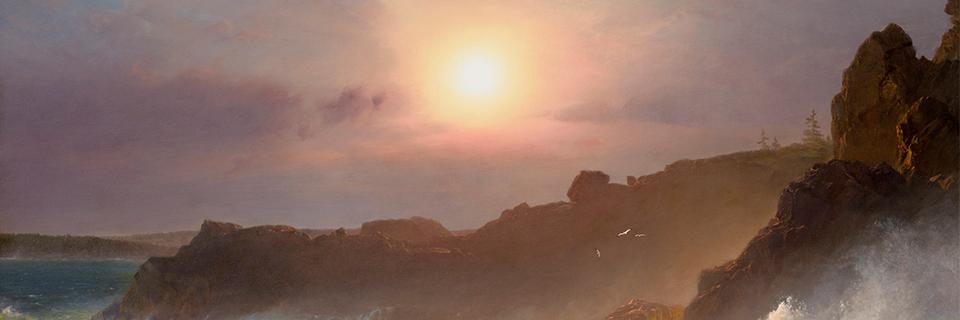 Frederic Edwin Church, Coast Scene, Mount Desert (Sunrise off the Maine Coast) 1863 [detail], Oil on canvas. Wadsworth Atheneum Museum of Art_opportunities_web header