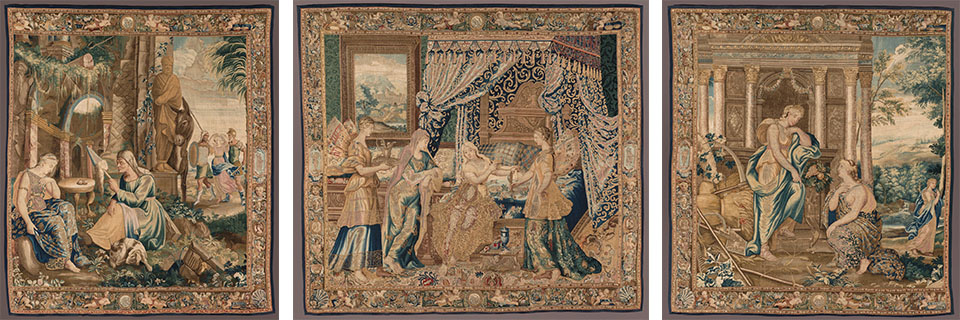 1) The Old Woman Tells the Story of Psyche, French, Paris, unidentified workshop, c. 1660, Wool, silk, gold thread; 118 x 104 in. 2) Psyche Dressing, French, Paris, unidentified workshop, c. 1660, Wool, silk, gold thread; 118 x 122 in.  3) Psyche at the Temple of Ceres, French, Paris, unidentified workshop, c. 1660, Wool, silk, gold thread; 118 x 108 in.