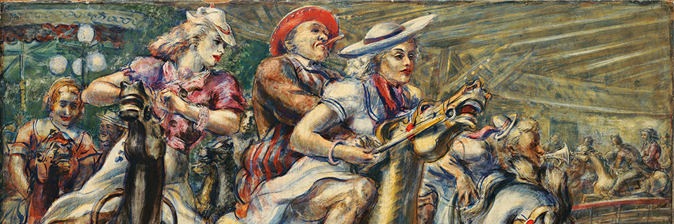 """Reginald Marsh, """"Wooden Horses"""" [detail], 1936, tempera on board; 24 x 40 inches, Wadsworth Atheneum Museum of Art, The Dorothy Clark Archibald and Thomas L. Archibald Fund, The Krieble Family Fund for American Art, The American Paintings Purchase Fund, and The Ella Gallup Sumner and Mary Catlin Sumner Collection Fund, 2013.1.1. """"Coney Island: Visions of an American Dreamland, 1861-2008"""""""