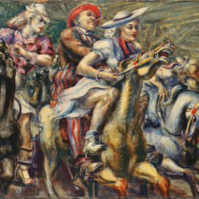 Reginald Marsh (American, 1898–1954), Wooden Horses (detail), 1936, tempera on board; 24 x 40 inches, Wadsworth Atheneum Museum of Art, The Dorothy Clark Archibald and Thomas L. Archibald Fund, The Krieble Family Fund for American Art, The American Paintings Purchase Fund, and The Ella Gallup Sumner and Mary Catlin Sumner Collection Fund, 2013.1.1