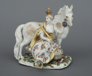 German, Meissen Porcelain Factory, Model by Johann Joachim Kaendler, Allegory of Europe, c. 1760, Hard-paste porcelain, Gift of J. Pierpont Morgan, 1917.1295