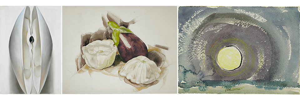 Three works on paper. Georgia O'Keeffe, left; Charles Demuth, center; Arthur Dove, right.