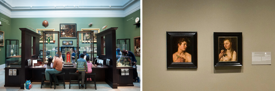 "Cabinet of Art and Curiosity, and installation photo of ""Reunited Masterpieces: From Adam and Eve to George and Martha"""
