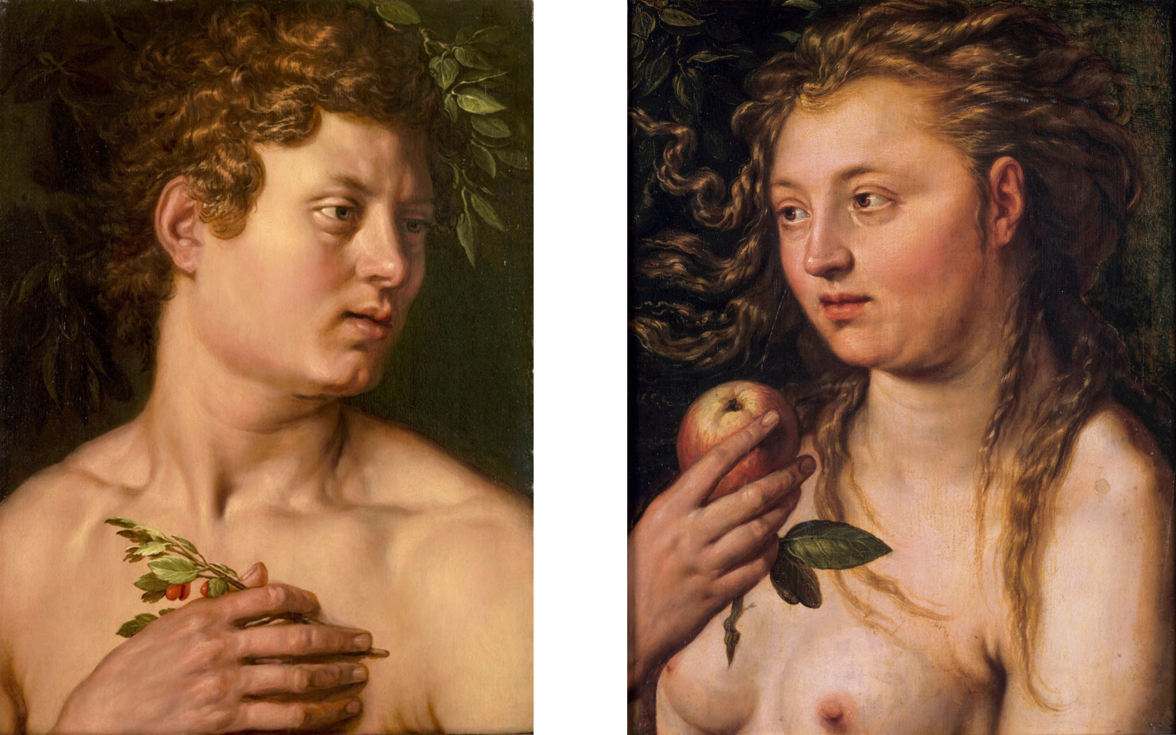 Hendrick Goltzius' Adam and Eve, 1613. Oil on panel.