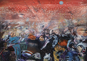 Ali Banisadr, Red (The Plague), detail, 2020. Oil on linen. 48 x 60 in. Courtesy of the artist.