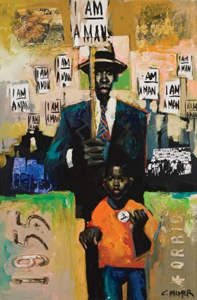 Charly Palmer, I Am A Man, 2006. Acrylic on wood with mixed media. Collection of the Amistad Center for Art & Culture