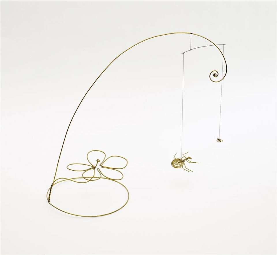 Alexander Calder, American, 1898-1976, The Spider and the Fly, c. 1938, Brass, thread, and wood, sculpture