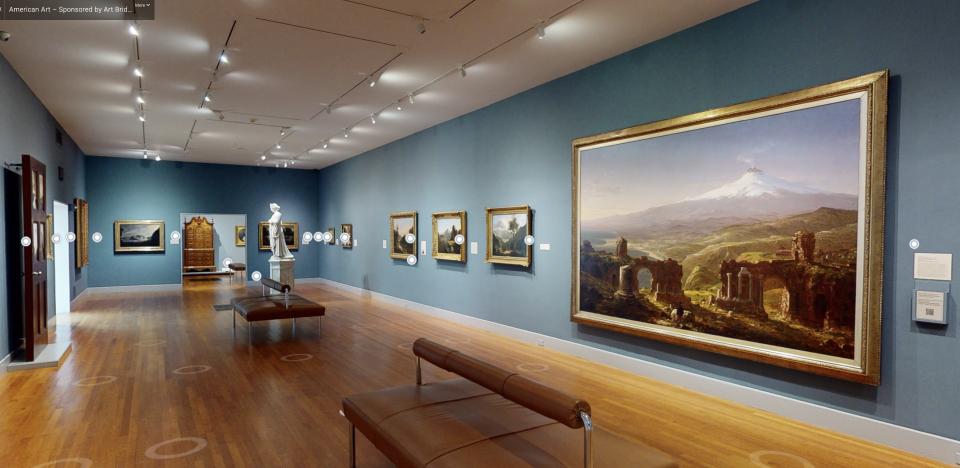Screenshot of the virtual tour of the Hudson River School galleries