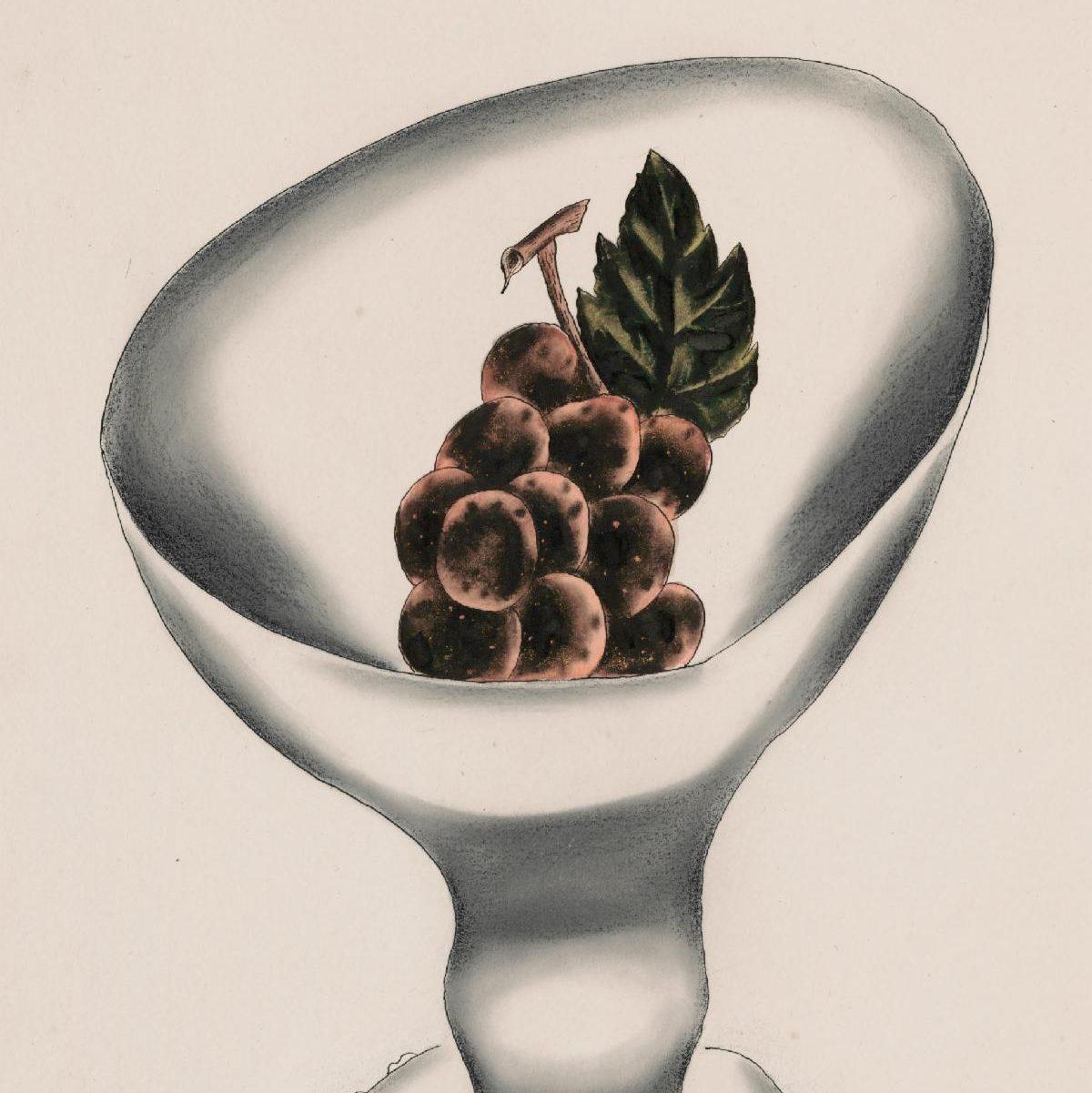 Detail of Yasuo Kuniyoshi, Grapes in White Bowl