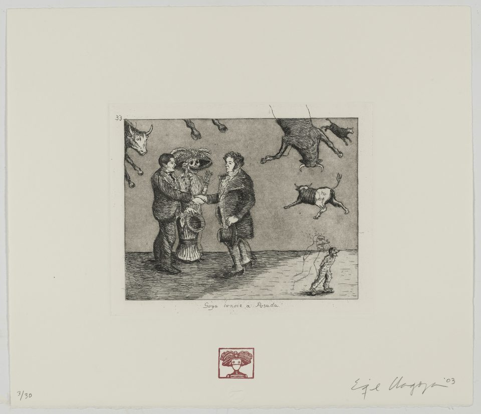 Enrique Chagoya, Goya conoce a Posada (Goya meets Posada), from Homage to Goya II: Disasters of War, 2003. Etching, aquatint, and rubber stamp on paper, ed. 3/30.