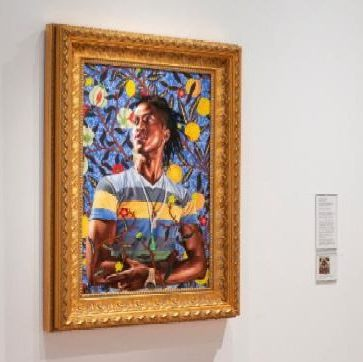 Installation view of Kehinde Wiley, Portrait of Toks Adewetan (The King of Glory)
