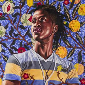 "Detail of Kehinde Wiley, ""Portrait of Toks Adewetan (The King of Glory)"""