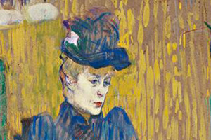 Detail of Henri de Toulouse Lautrec, Jane Avril Leaving the Moulin Rouge, 1892. Essence on board. Bequest of George Gay.