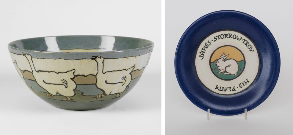 Goose Bowl, August 1914, Paul Revere Pottery of the Saturday Evening Girls' Club, and His Plate, 1924, Paul Revere Pottery of the Saturday Evening Girls' Club