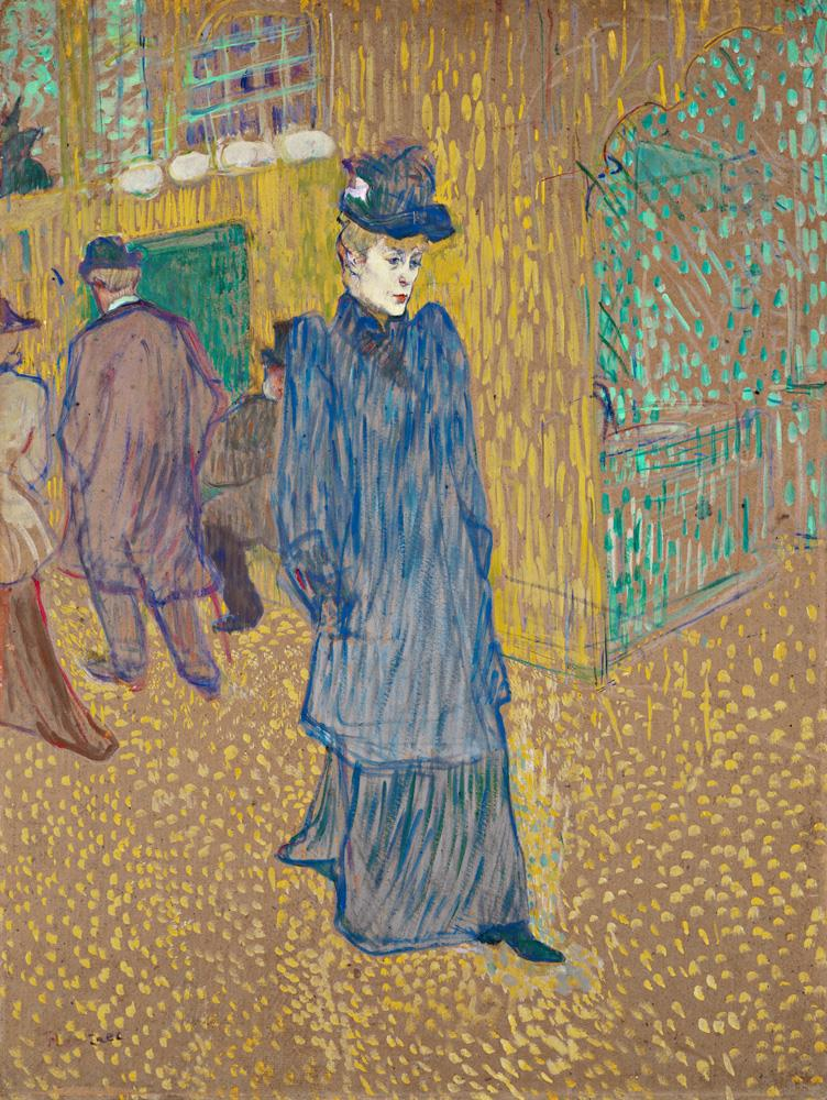 Henri de Toulouse Lautrec, Jane Avril Leaving the Moulin Rouge, 1892. Essence on board. Bequest of George Gay.