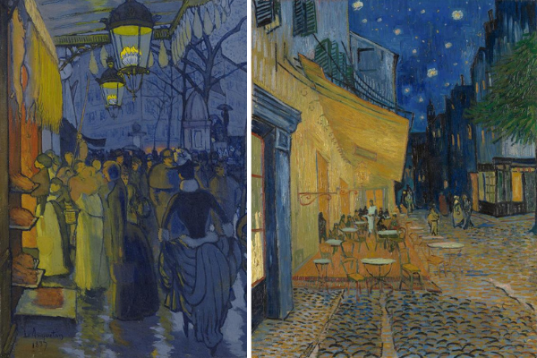 Left: Louis Anquetin, Avenue de Clichy (Street—Five O'clock in the Evening), detail. Right: Vincent van Gogh, The Café Terrace on the Place du Forum, Arles at Night, 1888
