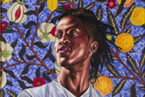 Detail of Kehinde Wiley, Portrait of Toks Adewetan (The King of Glory)