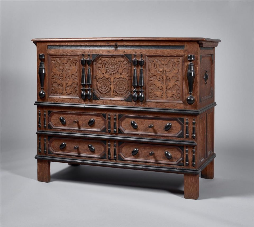 Two Drawer Sunflower Chest, c. 1670.
