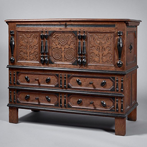 Possibly the Peter Blinn Shop tradition, Two Drawer Sunflower Chest, c. 1670