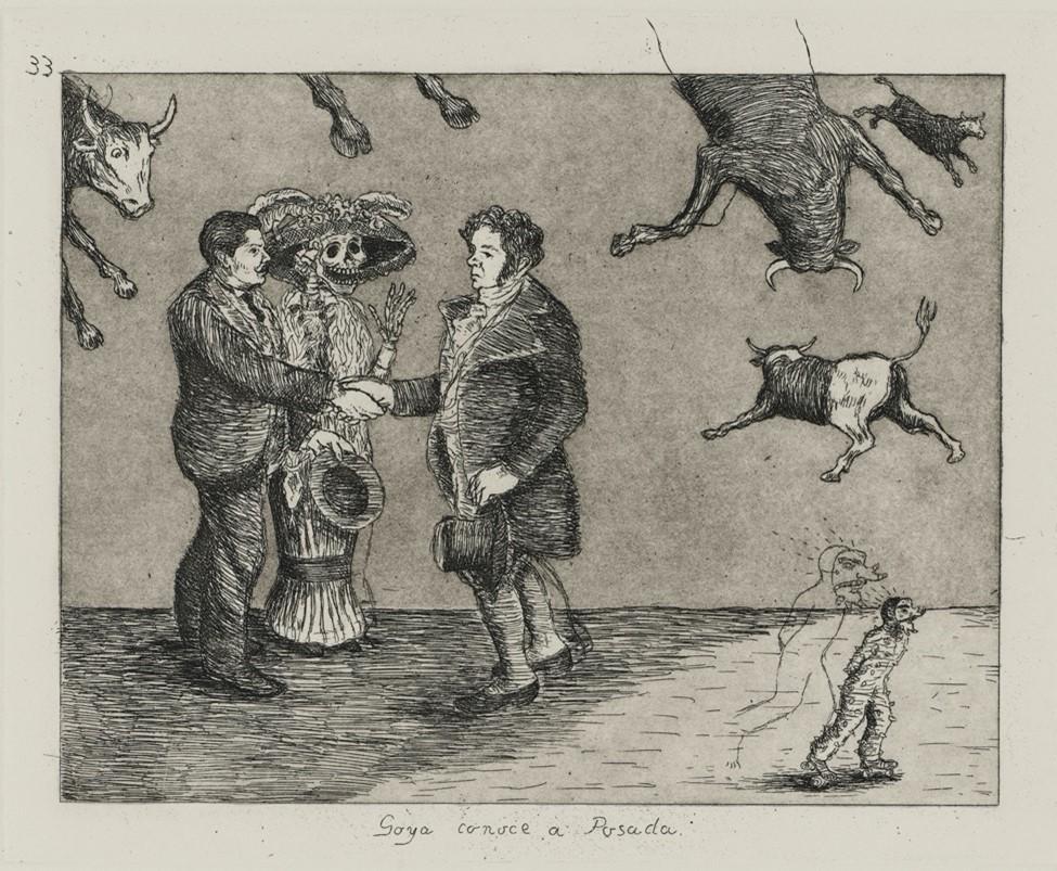 """Enrique Chagoya, """"Goya conoce a Posada"""" Copyright Enrique Chagoya"""