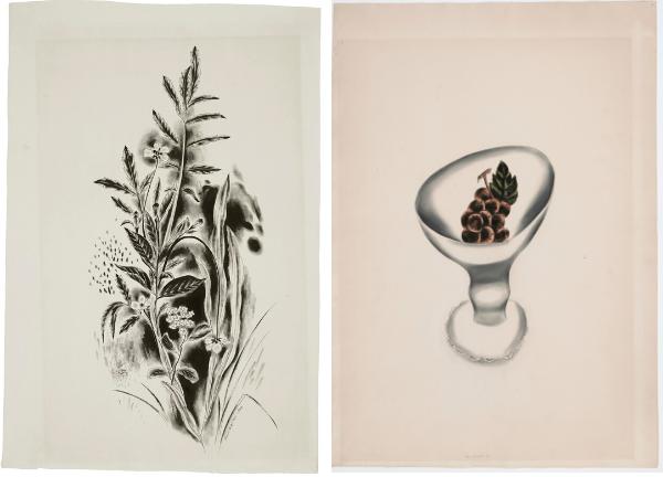 Yasuo Kuniyoshi White Flowers and Grapes in White Bowl