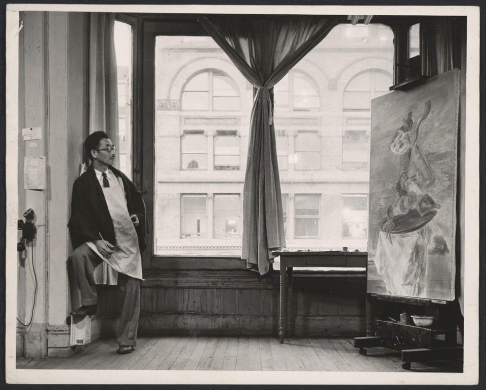 Kuniyoshi in his studio, at 30 East Fourteenth St. in New York, N.Y., photographed by Max Yavno for the Federal Art Project Photographic Division/Archives of American Art