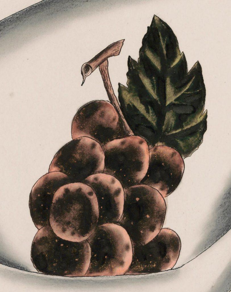 """Yasuo Kuniyoshi """"Grapes in White Bowl"""", detail.jpg"""