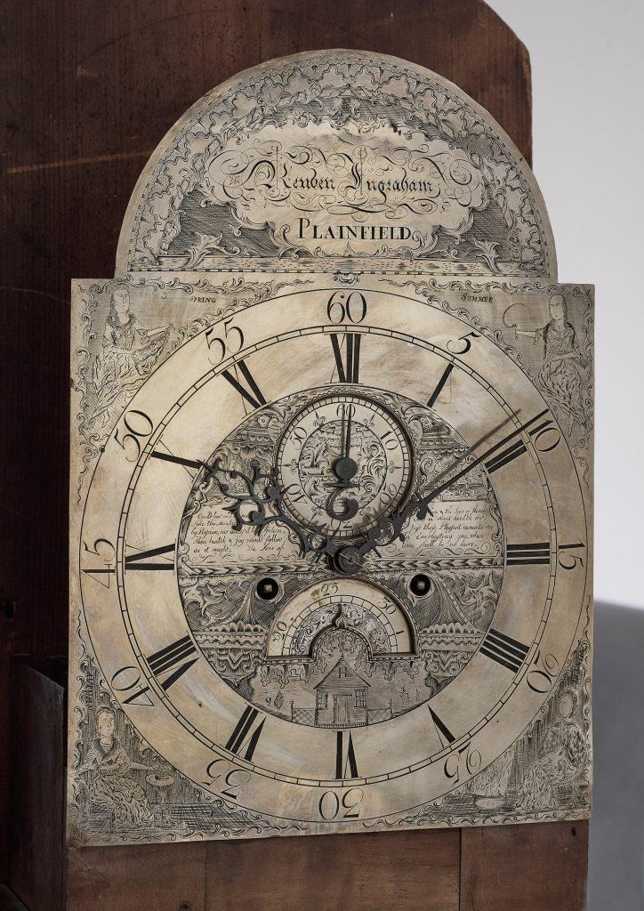 Face detail of an Eighteenth Century Tall Case Clock