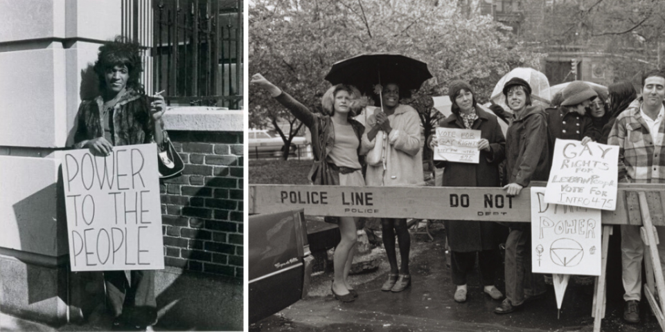Marsha P. Johnson pickets Bellevue Hospital to protest their treatment of gay, homeless, and mentally ill people.
